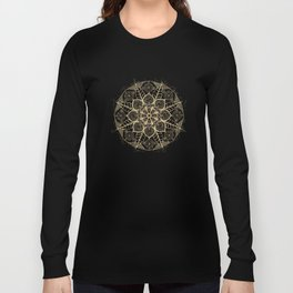 Stylish boho hand drawn golden mandala Long Sleeve T-shirt