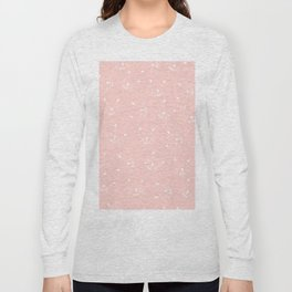 Cute girly hand drawn abstract cat face on pastel pink Long Sleeve T-shirt