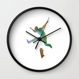 Man skateboard 02 in watercolor Wall Clock