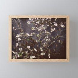 Vincent Van Gogh Almond Blossoms dark gray slate Framed Mini Art Print