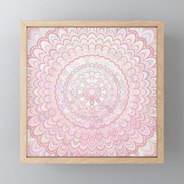 Light Coral and White Mandala Framed Mini Art Print