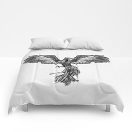 Phoenix Rising - Black and White Comforters