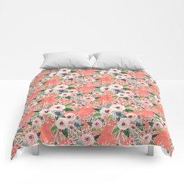 GONE FLORAL Coral Rose Print Comforters