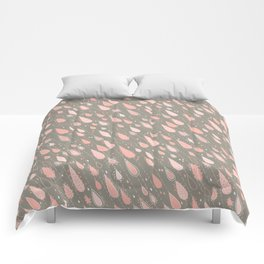 Dusty Rose Rain Drops Comforters