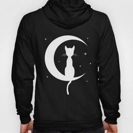 Cat on Moon Silhouette (Darks) Hoody