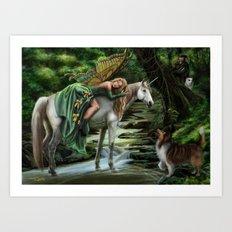 Sleeping Fairy on Unicorn Art Print
