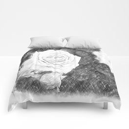 Pink Roses in Anzures 1 Charcoal Comforters