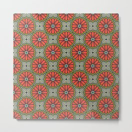 Moroccan Red Flower Pattern Metal Print