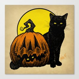 Still Life with Feline and Gourd Canvas Print