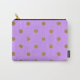 Bright Ube Gold Glitter Dot Pattern Carry-All Pouch