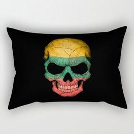 Dark Skull with Flag of Lithuania Rectangular Pillow