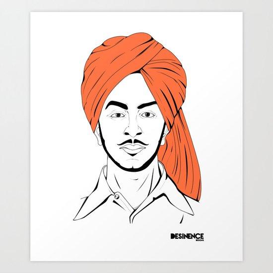Bhagat Singh #IpledgeOrange Art Print