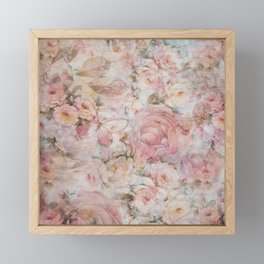 Vintage elegant blush pink collage floral typography Framed Mini Art Print