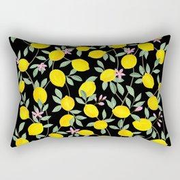 Lemon and Blossoms on Black Rectangular Pillow