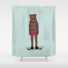 Bear + Skateboard Shower Curtain