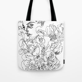 When the Petals Start Pouring Black & White Tote Bag