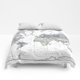 The World [Black and White Relief Map] Comforters