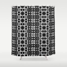 Arabesque Geometric Black and White Pattern Shower Curtain