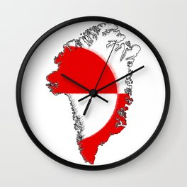 Greenland Map with Flag Wall Clock