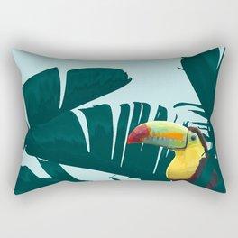 Green Toucan Tropical Banana Leaves Pattern Rectangular Pillow