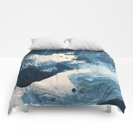 Against the Current: A bold, minimal abstract acrylic piece in blue, white and gold Comforters