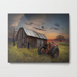 Abandoned Farmall Tractor and Barn Metal Print