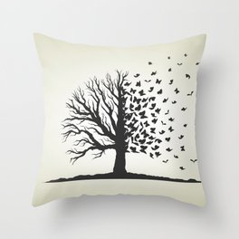 dried tree with branches and flying butterflies Throw Pillow