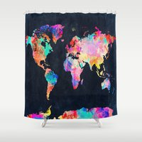 country Shower Curtains featuring World map by Bekim ART