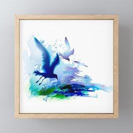 Birds flying. Sea, ocean watercolor gulls with waves. Dark blue water. Framed Mini Art Print