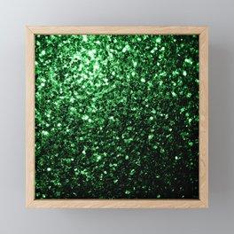 Glamour Dark Green glitter sparkles Framed Mini Art Print