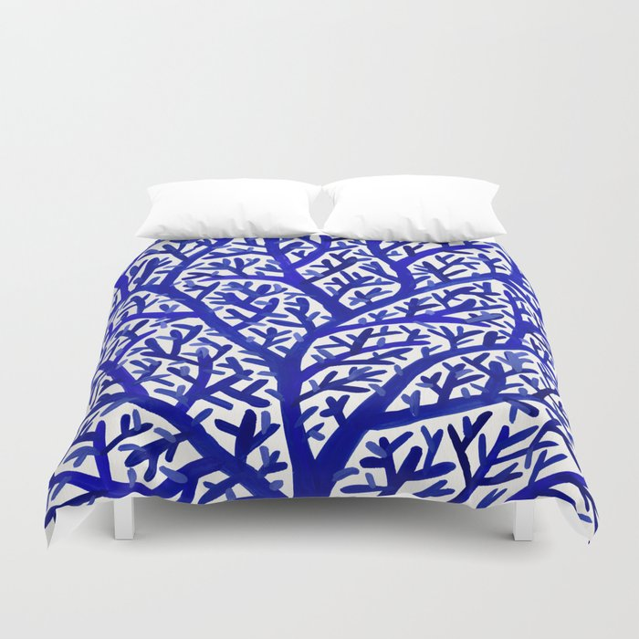 Fan Coral – Navy Duvet Cover