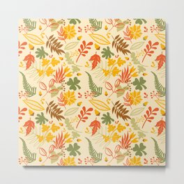 Fall orange forest green pastel country chic floral Metal Print