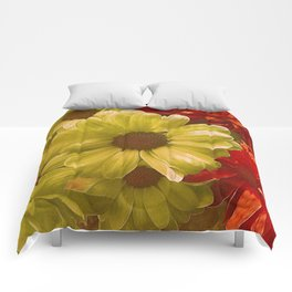 Floral Red & Gold Comforters