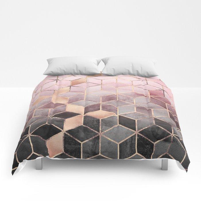 Pink And Grey Gradient Cubes Comforters