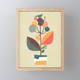 Potted plant with a bird Framed Mini Art Print