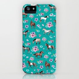 Horse Pattern, Floral Print, Turquoise, Little Girls Room, Horses iPhone Case