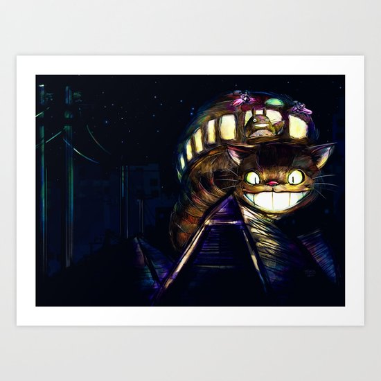 Cat Bus is In Your Town! Miyazaki Tribute Digital Fan Painting Art Print