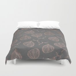 Modern floral hand drawn rose gold on grey cement graphite concrete Duvet Cover