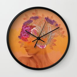 Woman in flowers III Wall Clock