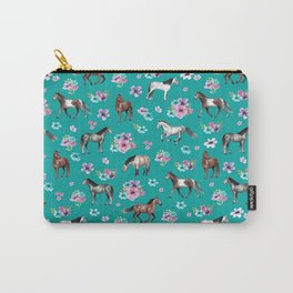Horse Pattern, Floral Print, Turquoise, Little Girls Room, Horses Carry-All Pouch