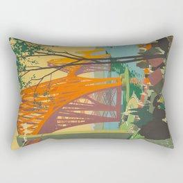 Mid Century Colorful Travel Posters Forth Bridge British Railways Rectangular Pillow