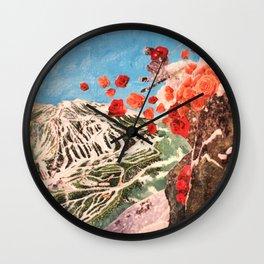 Ski Roses Wall Clock