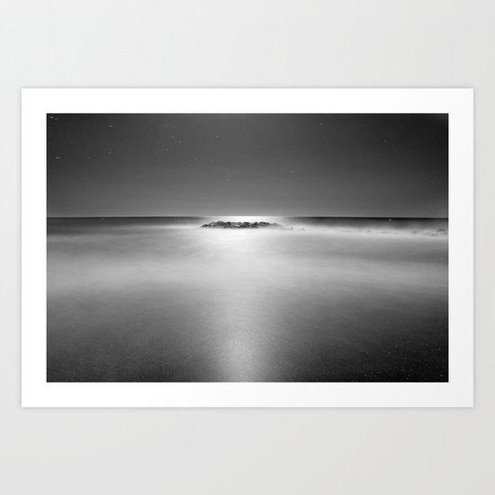 The rock island under de moonlight. M Art Print