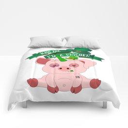 St Patrick's Day Kiss Me I'm A Unicorn Pig Comforters