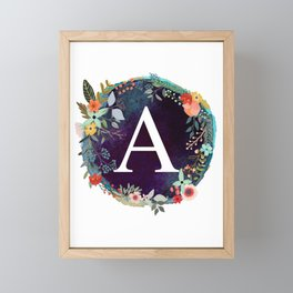 Personalized Monogram Initial Letter A Floral Wreath Artwork Framed Mini Art Print