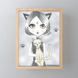 Moon Cat Girl Framed Mini Art Print