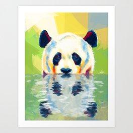 Panda taking a bath Art Print