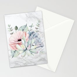 Pretty Succulents on Marble by Nature Magick Stationery Cards