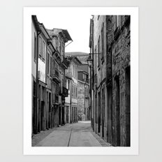 Oporto Back Streets black & white Art Print