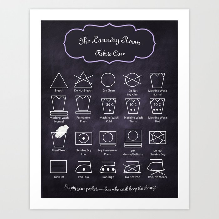 The Laundry Room Fabric Care Guide - Purple Art Print